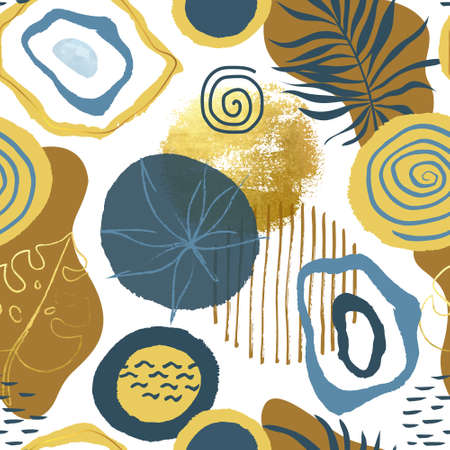 Trendy seamless pattern with hand drawn elements, abstract shapes and Doodle objects. Modern vector illustration for paper, wallpaper, cover, fabric and other users. Illustration