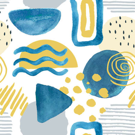 Trendy seamless pattern with hand drawn elements, abstract shapes and Doodle objects. Modern vector illustration for paper, wallpaper, cover, fabric and other users