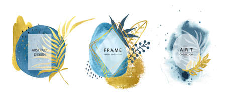 Set of abstract frames with hand drawn watercolors shapes and tropical leaves.Minimal template for creative designs, card, invitation