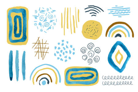 Set of hand drawn creative elements.Abstract shapes and Doodle objects.Modern trendy vector illustration.