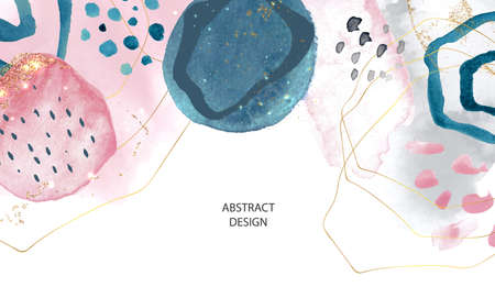 Abstract background with watercolor and gold brushstrokes.Modern design, vector illustration Illustration