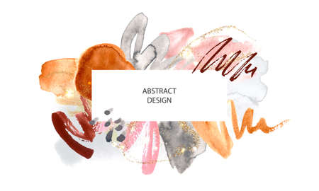 Abstract background with watercolor brush strokes and gold glitter.Modern fashion design, vector illustration Illustration