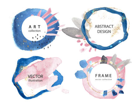 Set of creative frames with watercolor strokes and gold sparkles.Modern design for postcards, invitations, brochures and other uses.Vector illustration