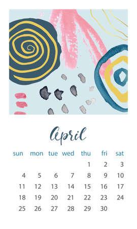 Calendar 2021 April. Abstract modern design. Editable template. Wall calendar planner template.Vector illustration