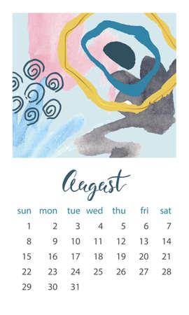 Calendar 2021 August. Abstract modern design. Editable template. Wall calendar planner template.Vector illustration Illusztráció