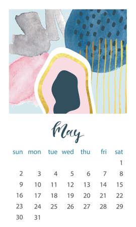 Calendar 2021 May. Abstract modern design. Editable template. Wall calendar planner template.Vector illustration