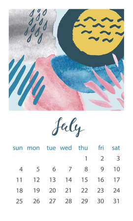Calendar 2021 July. Abstract modern design. Editable template. Wall calendar planner template.Vector illustration Stock fotó