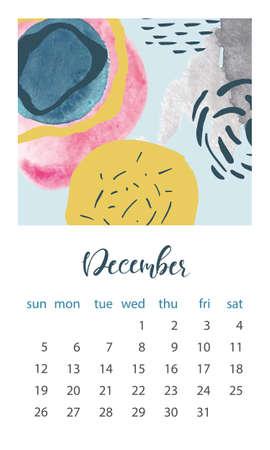 Calendar 2021 December. Abstract modern design. Editable template. Wall calendar planner template.Vector illustration