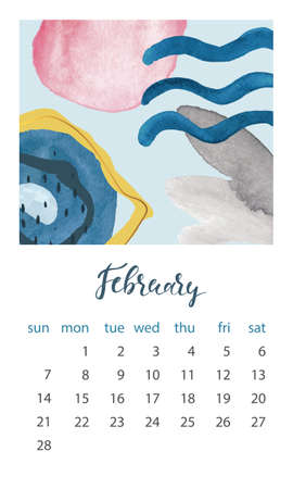 Calendar 2021 February. Abstract modern design. Editable template. Wall calendar planner template.Vector illustration Stock fotó