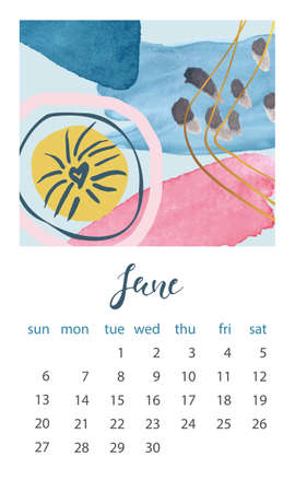 Calendar 2021 June. Abstract modern design. Editable template. Wall calendar planner template.Vector illustration