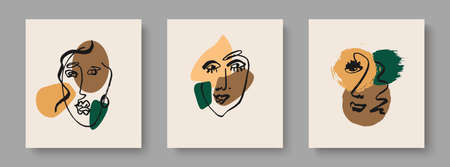 A set of creative templates in a fashionable style with a portrait in one line, modern abstract colorful shapes.Design for home and office decor.