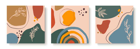 Set of abstract backgrounds. Hand drawn various shapes and doodle objects. Contemporary modern trendy Vector illustrations. Every background is isolated. Pastel colors.
