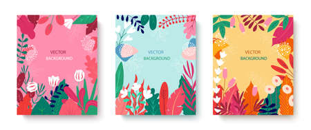 Set of bright abstract cards with tropical leaves. Creative doodles of various shapes and textures. Vector illustration ideal for prints, flyers, banners, cards, invitations.