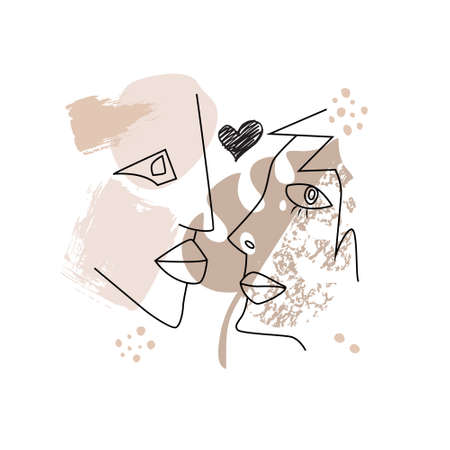 A kissing couple drawn in one continuous line. The silhouette of the lovers  Portrait in the style of minimalism. Design for Valentines Day. Ilustração