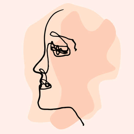Abstract face line.Modern drawing in the art Nouveau cubism style.Portrait of a female face isolated on a white background.