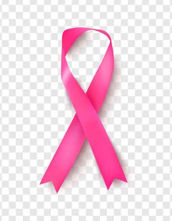 Pink breast cancer awareness ribbon on transparent background.Vector illustration Imagens - 165449458