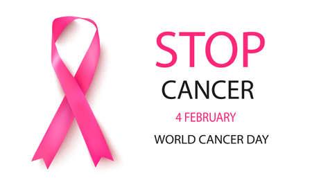 Breast cancer awareness. Realistic pink ribbon.Vector illustration.