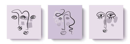 Trendy abstract designer greeting cards with faces in pastel colors.Applicable for banners, postcards, invitations, office design, home decor