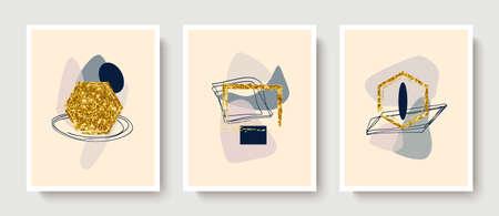 Abstract minimalist composition in beige,gray, blue tones.Golden geometric shapes,circles, frames.Modern creative hand-drawn background Illusztráció
