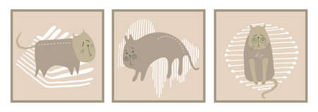 Trendy abstract maps in pastel colors.Hand-drawn cats ,geometric shapes.Vector illustration is applicable for postcards, covers,brochures, interior design.Childrens illustration