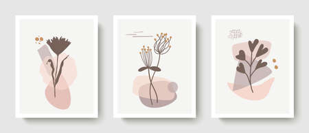 Set of vector botanical wall art.Drawing a line of foliage in boho style with an abstract shape.Abstract plant design for covers, prints, wallpapers, minimalistic and natural wall paintings Ilustração