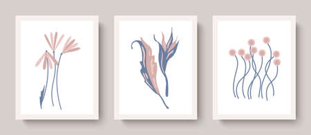 Set of vector botanical wall art.Abstract flowers, leaves.Plant design for covers, prints, wallpapers, minimalistic and natural wall paintings Ilustração