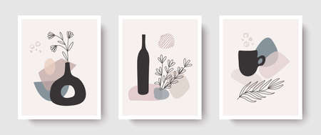 A modern set of abstract modern aesthetic backgrounds with geometric shapes, plants,dishes.Fashion poster prints.Interior decoration