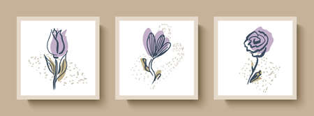 Fashionable set of abstract cards with hand-drawn flowers, doodles.For social networks, banners, greeting cards, invitations, and illustrations.For interior decoration Illusztráció