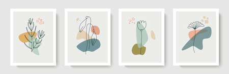 Set of botanical vector wall art.Foliage, flowers drawn in an abstract form.Plant design for covers, wallpapers, prints, minimalistic and natural wall riunks.Vector illustration Illusztráció