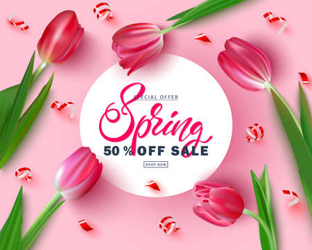 Banner for the site with the inscription discount.Spring sale.Realistic tulips on a pink background.Poster design Ilustração