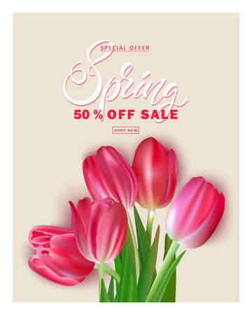 Bouquet of tulips on a beige background, spring sale, template for a poster, banner, flyer, coupon and postcard Illusztráció