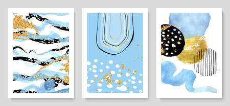 Set of creative hand painted illustrations with watercolor details for wall decoration, postcard or brochure cover design.