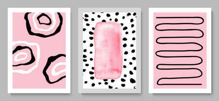 Set of modern hand drawn cards.Abstract background for wall decoration, postcard or brochure cover design.Vector illustration. Illusztráció