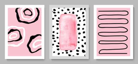 Set of modern hand drawn cards.Abstract background for wall decoration, postcard or brochure cover design.Vector illustration. Ilustração