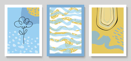 Set of modern cards with hand drawn details.Abstract background.Illustrations for wall decoration, postcard or brochure cover design.