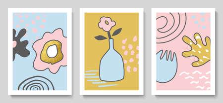 Set of modern cards with hand drawn details for wall decoration, postcard or brochure cover design. Vector illustration. Illusztráció