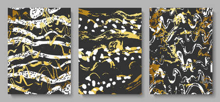 Set of abstract cards with gold and white stains on a black background.Vector illustration for decorating walls, covers,postcards, brochures and other design.