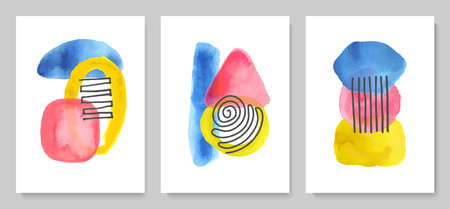Set of abstract modern creative posters with watercolor shapes and lines. Hand drawn style. Minimalist design for background, wallpaper, wall decor, brochure, print, card. Vector illustration