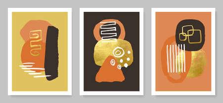 Set of modern cards with hand drawn details.Abstract background.Vector illustrations for wall decoration, postcard or brochure cover design. Ilustração