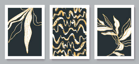 Set of beautiful backgrounds with tropical leaves, streaks and golden sparkles.Hand drawn style. Minimalist design for background, wallpaper, wall decor, brochure, print, card. Vector illustration.