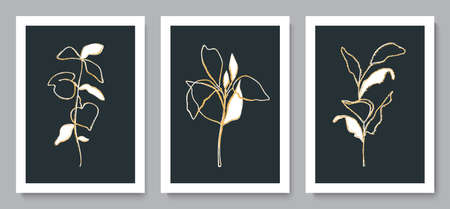 Set of beautiful backgrounds with golden plants.Minimalist design for background, wallpaper, wall decor, brochure, print, card. Vector illustration