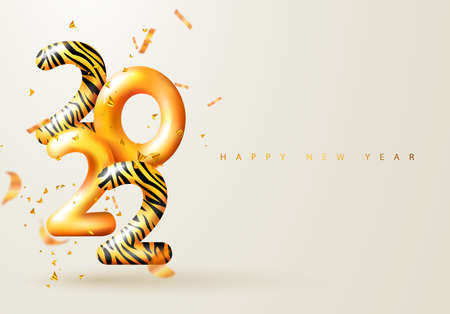 2022 Happy New Year. 3d render gold metallic sign with tiger pattern and flying serpentine. Festive New Year greeting card 2022. Christmas Poster, banner, cover card, brochure, flyer, layout design Ilustração