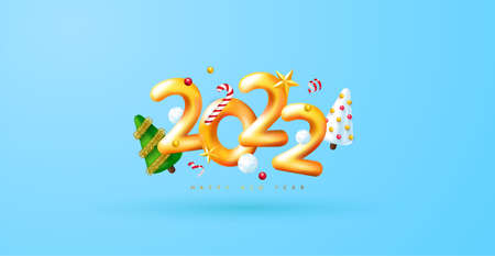 2022 Happy New Year. 3d render gold metallic sign and decorative christmas decoration. Festive New Year greeting card 2022. Christmas Poster, banner, cover card, brochure, flyer, layout design.