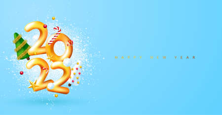 Happy New Year 2022. 3d render gold metallic sign and decorative christmas decoration. Festive New Year greeting card 2022. Christmas Poster, banner, cover card, brochure, flyer, layout design. Ilustração
