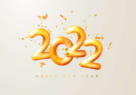2022 Happy New Year. 3d render gold metallic sign and flying serpentine. Festive New Year greeting card 2022. Christmas Poster, banner, cover card, brochure, flyer, layout design. Ilustração
