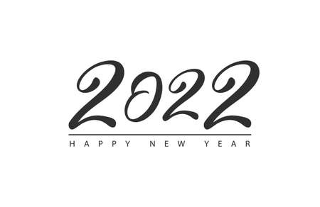 Happy New Year 2022 logo text design.Brochure design template, card, banner. Vector illustration with black holiday label isolated on white background.