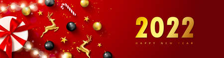 2022 Happy New Year banner. Holiday background with Golden metal deer, Christmas tree balls,stars,gift box, serpentine and luminous garland.Vector illustration for website,posters,ads,coupons,promotional material Ilustração