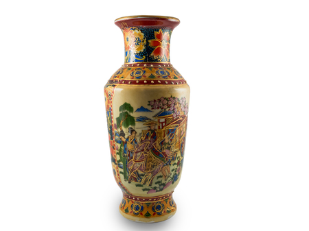 antique vase: Chinese antique vase on white background