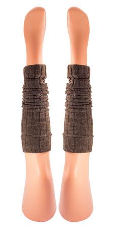 gaiters: Mannequins legs wearing brown gaiters Stock Photo