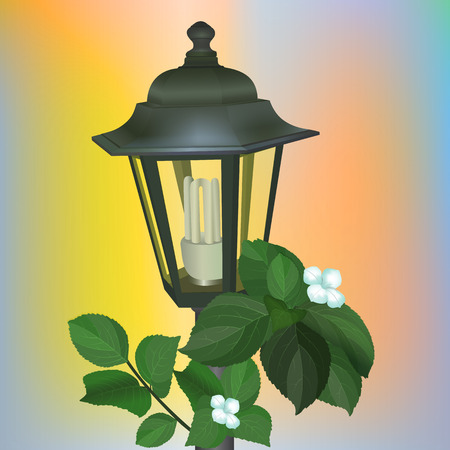 Street lantern from the forged metal with energy saving luminescent lamp. Vector illustration